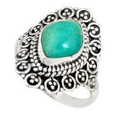 4.52cts natural green peruvian amazonite 925 silver solitaire ring size 7 r19533