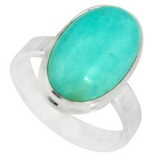 8.80cts natural green peruvian amazonite 925 silver solitaire ring size 8 r19308