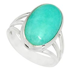 8.14cts natural green peruvian amazonite 925 silver solitaire ring size 8 r19312