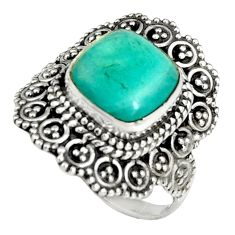 5.75cts natural green peruvian amazonite 925 silver solitaire ring size 8 r19522