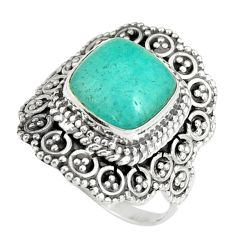 5.75cts natural green peruvian amazonite 925 silver solitaire ring size 8 r19527