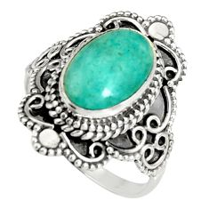 4.65cts natural green peruvian amazonite 925 silver solitaire ring size 8 r19535