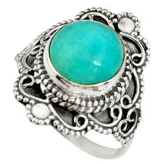 5.53cts natural green peruvian amazonite 925 silver solitaire ring size 8 r19537