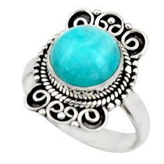 5.47cts natural green peruvian amazonite 925 silver solitaire ring size 8 r52615