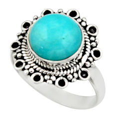 5.15cts natural green peruvian amazonite 925 silver solitaire ring size 8 r52616