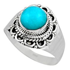 2.44cts natural green peruvian amazonite 925 silver solitaire ring size 8 r53496