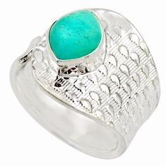 4.40cts natural green peruvian amazonite 925 silver solitaire ring size 9 d46430