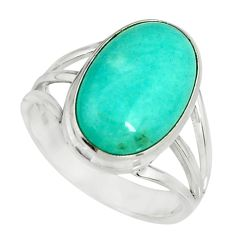 7.83cts natural green peruvian amazonite 925 silver solitaire ring size 9 r19311
