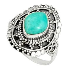 4.40cts natural green peruvian amazonite 925 silver solitaire ring size 9 r19528