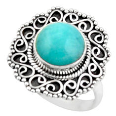 5.19cts natural green peruvian amazonite 925 silver solitaire ring size 9 r52611