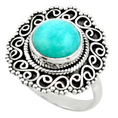 5.42cts natural green peruvian amazonite 925 silver solitaire ring size 9 r52612