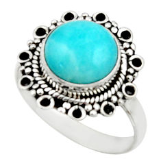 5.23cts natural green peruvian amazonite 925 silver solitaire ring size 9 r52620