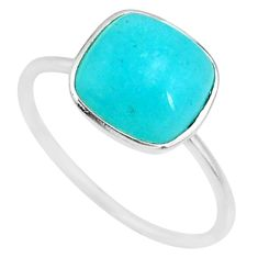 4.97cts natural green peruvian amazonite 925 silver solitaire ring size 9 r81703