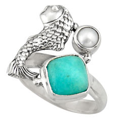 4.38cts natural green peruvian amazonite pearl silver fish ring size 7 d46067