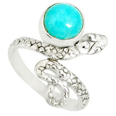 3.13cts natural green peruvian amazonite round silver snake ring size 6 r78627