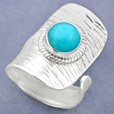 2.41cts natural green peruvian amazonite silver adjustable ring size 6 r63268