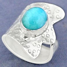 5.16cts natural green peruvian amazonite silver adjustable ring size 7 r63419