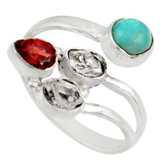 Clearance Sale- 8.06cts natural green peruvian amazonite silver adjustable ring size 8 d39046