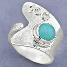 2.72cts natural green peruvian amazonite silver adjustable ring size 9 r63241
