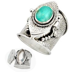 4.41cts natural green peruvian amazonite silver poison box ring size 7.5 r26635