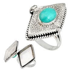 4.27cts natural green peruvian amazonite silver poison box ring size 9 r19655