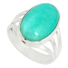 7.22cts natural green peruvian amazonite silver solitaire ring size 7.5 r19301