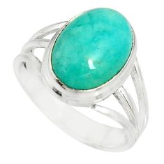 5.97cts natural green peruvian amazonite silver solitaire ring size 8.5 r19304