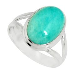 6.31cts natural green peruvian amazonite silver solitaire ring size 7.5 r19314
