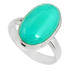 8.22cts natural green peruvian amazonite silver solitaire ring size 8.5 r19405