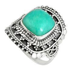 5.53cts natural green peruvian amazonite silver solitaire ring size 7.5 r19524
