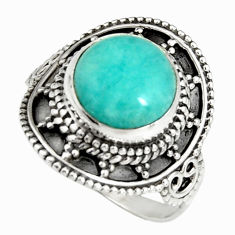5.36cts natural green peruvian amazonite silver solitaire ring size 8.5 r19529