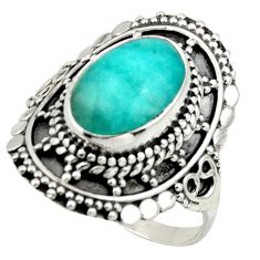 4.40cts natural green peruvian amazonite silver solitaire ring size 7.5 r41621
