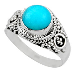 2.44cts natural green peruvian amazonite silver solitaire ring size 7.5 r53489
