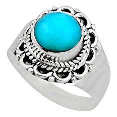 2.28cts natural green peruvian amazonite silver solitaire ring size 6.5 r53500