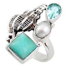 6.20cts natural green peruvian amazonite topaz 925 silver ring size 7.5 d46050