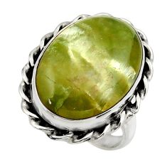 15.64cts natural green pietersite 925 silver solitaire ring size 8 r28426