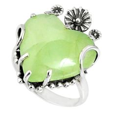 15.05cts natural green prehnite 925 silver heart ring size 6.5 r67521