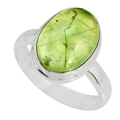6.04cts natural green prehnite 925 silver solitaire ring jewelry size 8.5 r19401