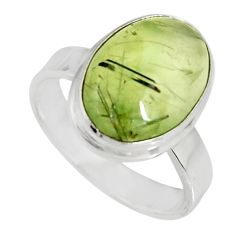 6.58cts natural green prehnite 925 silver solitaire ring jewelry size 7.5 r19407