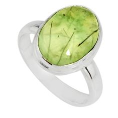 6.31cts natural green prehnite 925 silver solitaire ring jewelry size 8.5 r19408