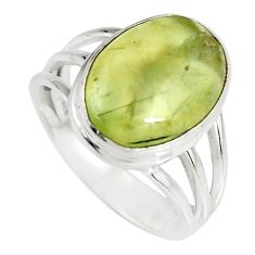 6.83cts natural green prehnite 925 silver solitaire ring jewelry size 7.5 r19410