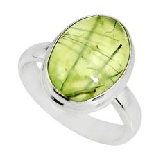 6.04cts natural green prehnite 925 silver solitaire ring jewelry size 7.5 r19416