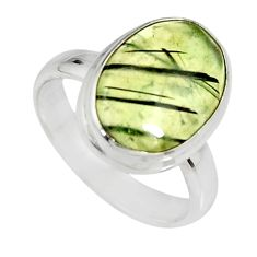 6.36cts natural green prehnite 925 silver solitaire ring jewelry size 7 r19402