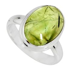 6.04cts natural green prehnite 925 silver solitaire ring jewelry size 7 r19406