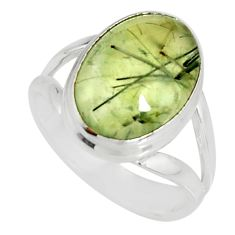 6.04cts natural green prehnite 925 silver solitaire ring jewelry size 7 r19411