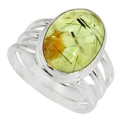 6.60cts natural green prehnite 925 silver solitaire ring jewelry size 7 r19413