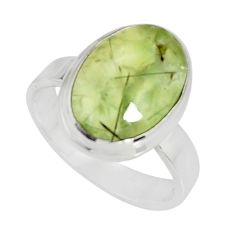 6.31cts natural green prehnite 925 silver solitaire ring jewelry size 7 r19420