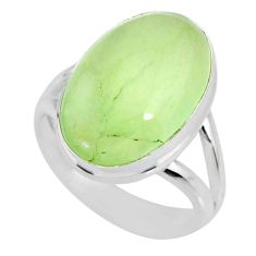 9.30cts natural green prehnite 925 silver solitaire ring jewelry size 7 r72764