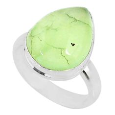 9.99cts natural green prehnite 925 silver solitaire ring jewelry size 7 r72771
