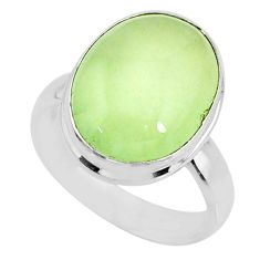 9.47cts natural green prehnite 925 silver solitaire ring jewelry size 7 r72776